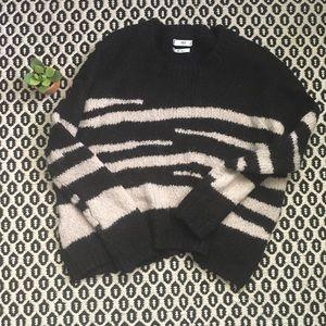 Mango Animal Striped Sweater Sz M